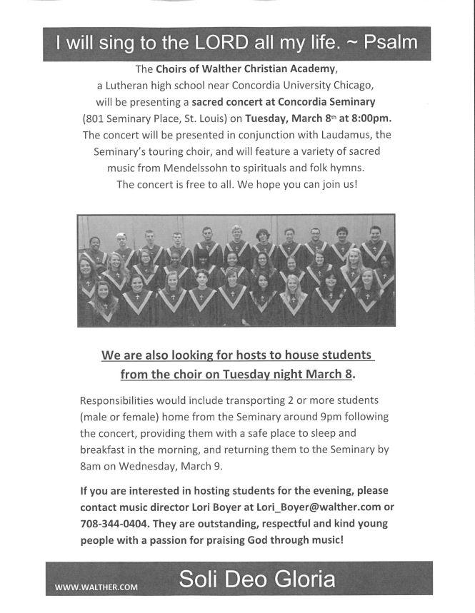 Choir Concert Walther Christian Academy
