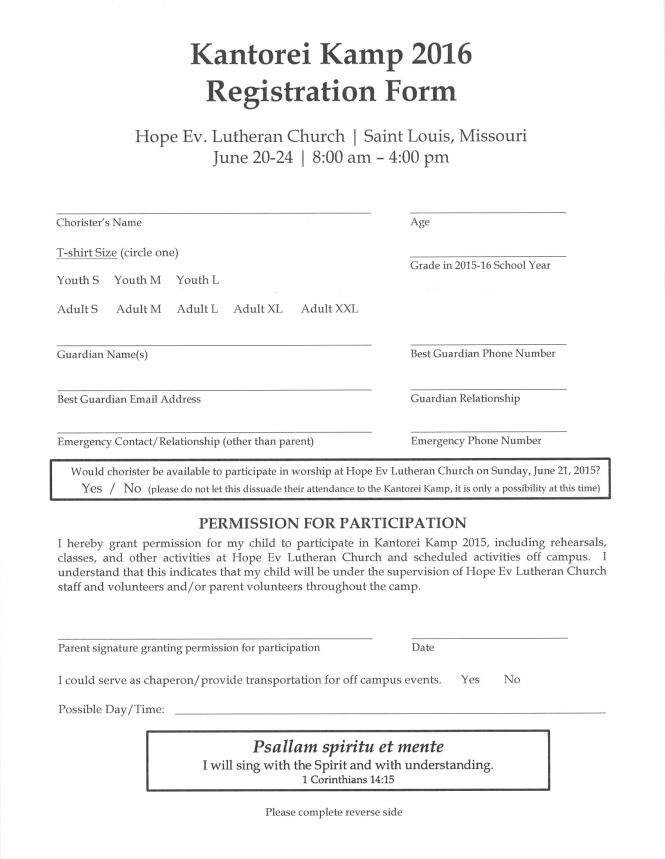 Kantorei Camp application