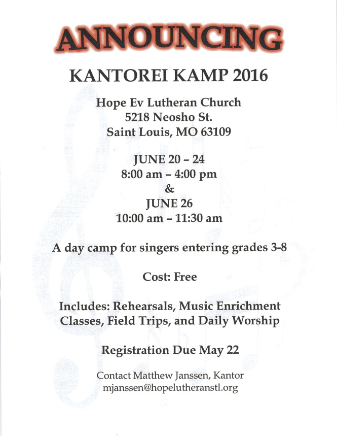 Kantorei Camp for choral singers