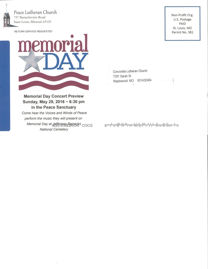 Peace Lutheran Memorial Day Preview Concert
