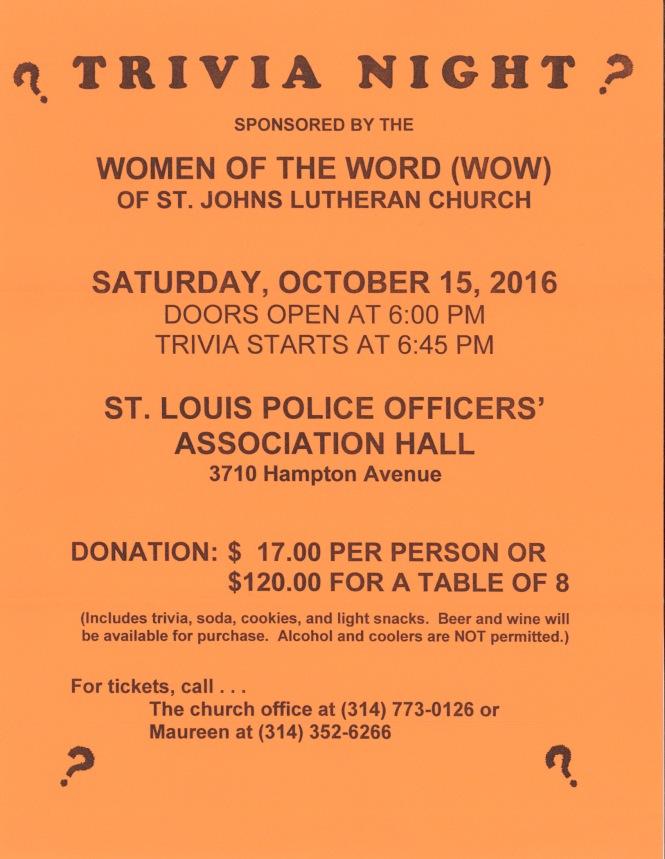 Trivia Night St. John's Lutheran WOW group