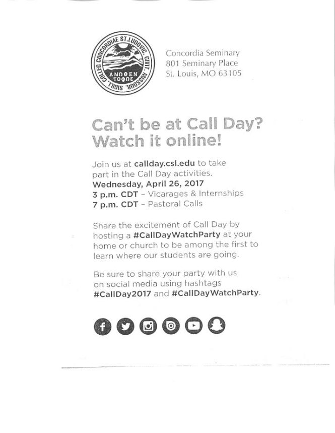 Call Day Announcement