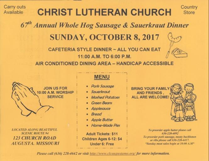 Christ Lutheran Sausage Dinner