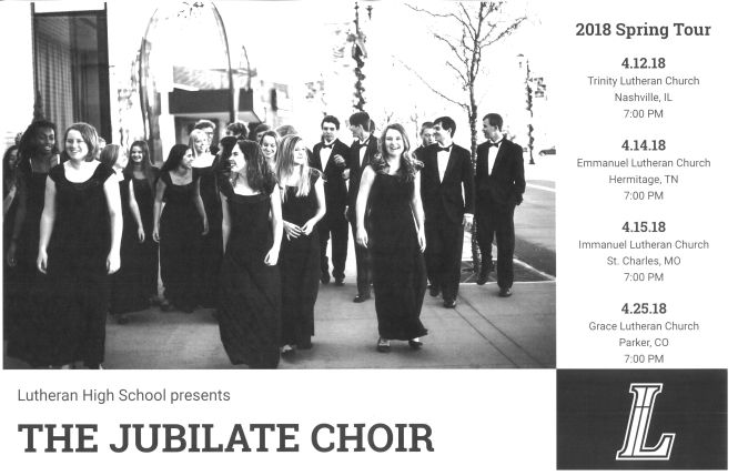 Lutheran High School Jubilate Choir 2018 tour