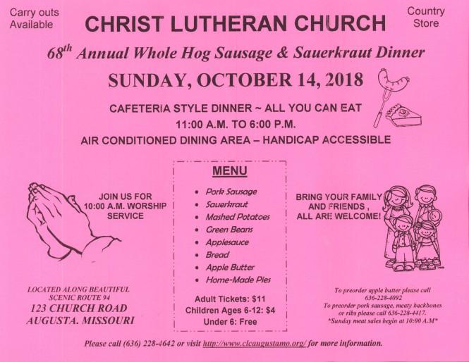 Christ Lutheran Augusta Sausage dinner 2018