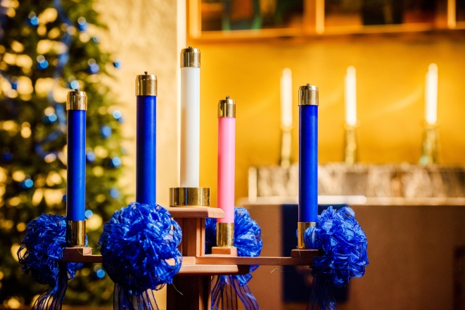 Advent candles on Monday, Dec. 10, 2018, at Concordia Lutheran Church, Maplewood, Mo. LCMS Communications/Erik M. Lunsford