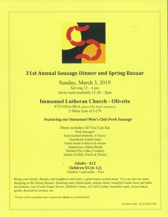 2019 Immanuel Olivette Sausage dinner and bazaar