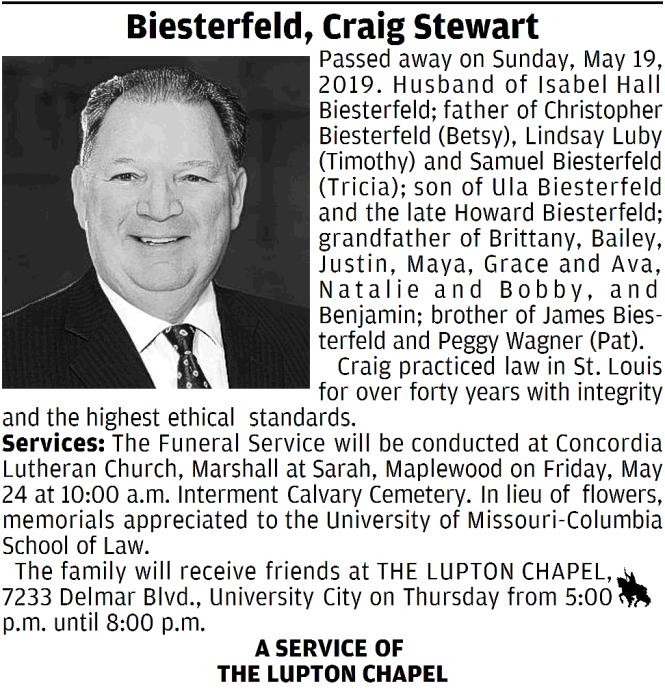 Craig Biesterfeld Obit